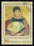 Meisje met een Ventilator door Renoir stock foto's
