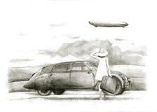 Meisje met een veteraan stock illustratie