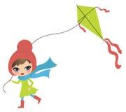 Meisje met een vlieger royalty-vrije illustratie