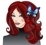 Meisje met een vlinder in haar haar Stock Afbeeldingen