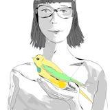 Meisje met een vogel Stock Fotografie