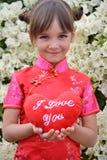 Meisje met een zacht hart Stock Foto