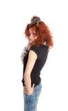Meisje met een zwarte rat Royalty-vrije Stock Afbeeldingen