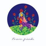 Meisje met eenhoorn vectorillustratie royalty-vrije illustratie
