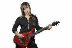 Meisje met elektrische gitaar Royalty-vrije Stock Foto's