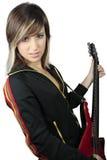 Meisje met elektrische gitaar Stock Foto