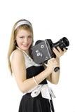 Meisje met filmcamera stock fotografie
