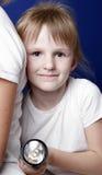 Meisje met flitslicht Stock Foto's