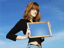 Meisje met frame Royalty-vrije Stock Foto's