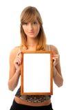 Meisje met frame Stock Afbeeldingen