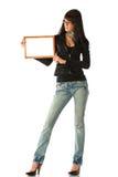Meisje met frame royalty-vrije stock afbeeldingen