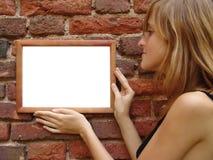 Meisje met frame Stock Fotografie