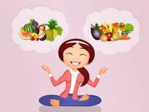 Meisje met fruit en groenten vector illustratie