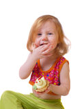 Meisje met gebakje dat op wit wordt geïsoleerd¯ Stock Afbeelding