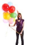 Meisje met gekleurd baloons Royalty-vrije Stock Foto's