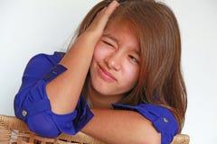 Meisje met gelaatsuitdrukking stock afbeelding