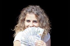 Meisje met geld royalty-vrije stock afbeeldingen
