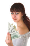 Meisje met geld Stock Afbeelding