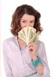Meisje met geld Stock Foto's