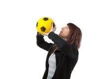 Meisje met gele bal Stock Foto