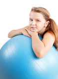 Meisje met geschiktheidsbal Stock Afbeelding
