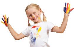 Meisje met geschilderde handen Royalty-vrije Stock Foto's