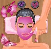 Meisje met gezichtsmasker royalty-vrije illustratie