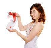 Meisje met gift Stock Afbeeldingen