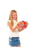 Meisje met gift Royalty-vrije Stock Afbeelding