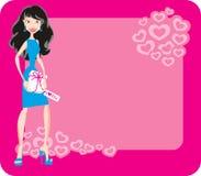 Meisje met gift voor de Dag van de Valentijnskaart Royalty-vrije Stock Foto's