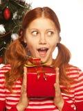 Meisje met giftdoos Stock Fotografie