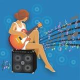 Meisje met gitaar Royalty-vrije Illustratie