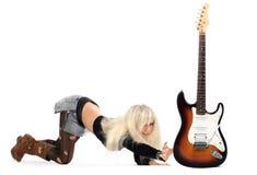 Meisje met gitaar royalty-vrije stock foto