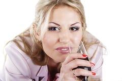 Meisje met glas Stock Fotografie