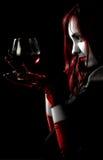 Meisje met glas wijn Royalty-vrije Stock Afbeeldingen
