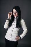 Meisje met glazen Stock Foto's