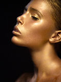 Meisje met gouden en zilveren huid in het beeld van Oscar De schoonheidsgezicht van het kunstbeeld Royalty-vrije Stock Foto