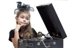 Meisje met grammofoon royalty-vrije stock fotografie