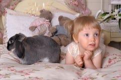 Meisje met grijs konijn stock foto's