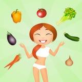 Meisje met groenten stock illustratie