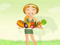 Meisje met groenten vector illustratie