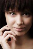 Meisje met groot lippenportret Stock Foto's