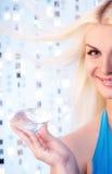 Meisje met grote diamant Stock Foto
