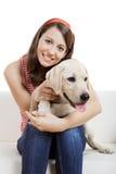 Meisje met haar beste vriend Stock Foto