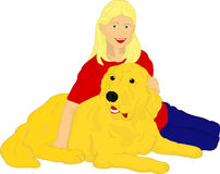 Meisje met haar gouden Retriever Royalty-vrije Stock Fotografie