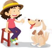 Meisje met haar huisdierenhond Stock Foto