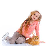 Meisje met haar kat Royalty-vrije Stock Fotografie