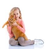 Meisje met haar kat Stock Afbeelding