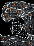 Meisje met haar losse, mooie vrouw met bloemen en lange haren, zeester op haar, meermin, wit en rood op een zwarte achtergrond vector illustratie