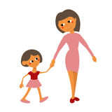 Meisje met haar moeder Mamma en dochter Stock Fotografie